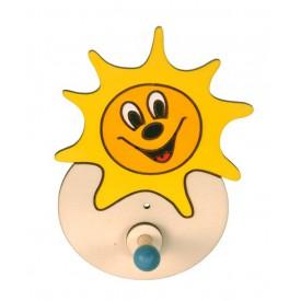 Dřevěný 1 věšáček - Sluníčko