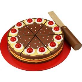 Dřevěný krájecí čokoládový dort