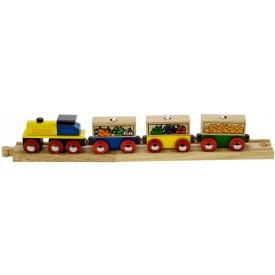 Dřevěný vláček vláčkodráhy - Nákladní vlak se zeleninou