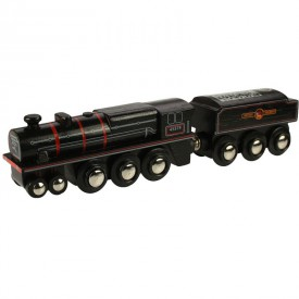Originální dřevěná lokomotiva Bigjigs - Black 5 engine