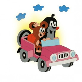 Dětská lampička - Krtek v autě