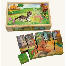 Dřevěné hračky - Obr.kostky-Domácí zvíř., 15 ks