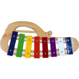 Dřevěné hračky - hudební nástroje - Xylofon kovový obloukový