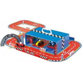 Dřevěná hračka Vilac - Závodní dráha s auty v kufříku