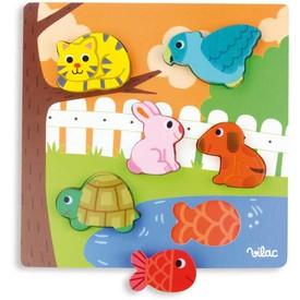 Vilac dřevěné puzzle zvířátka u rybníku