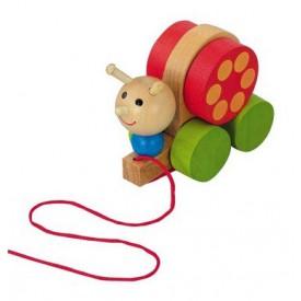 Dřevěné hračky - Tahací hračky -Tahací šnek