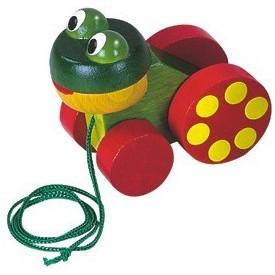Dřevěné hračky - Tahací hračky - Žabka tahací