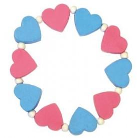 Dřevěné hračky - Dětský náramek s růžovými a modrými srdíčky