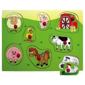 Dřevěné hračky - Vkládací puzzle Vkládačka Domácí zvířata A