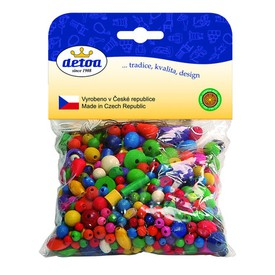 Detoa dřevěné korálky - Mix perlí barevných 100 g