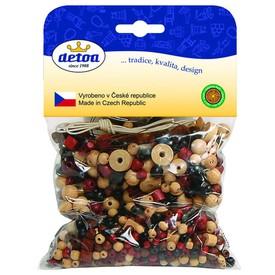 Detoa dřevěné korálky - Mix perlí hnědo-přírodní 100g
