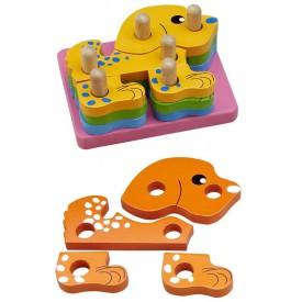 Motorické hračky - Nasazování na tyč - Puzzle pejsek