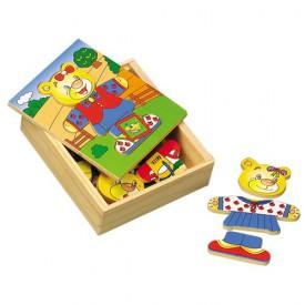 Dřevěné hračky - Oblékací puzzle - Šatní skříň Medvídek