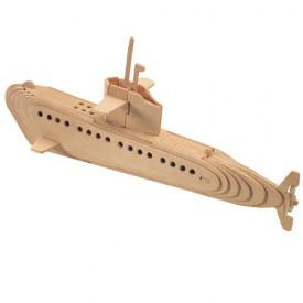 Dřevěné 3D puzzle lodě - dřevěná skládačka - Ponorka P042