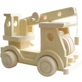 Dřevěné hračky - Přírodní dřevěné auto - Jeřáb
