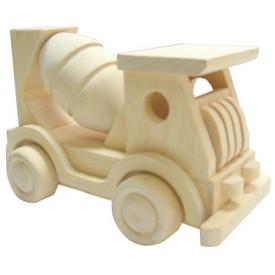 Dřevěné hračky - Přírodní dřevěné auto - Míchačka