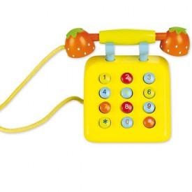 Dřevěné hračky - Dřevěný žlutý telefon