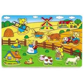 Dřevěné hračky - Vkládací puzzle - Vkládačka - Venkov