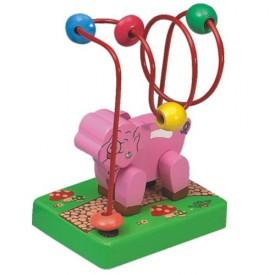 Dřevěné hračky -Motorické hračky-Motorický labyrint prasátko
