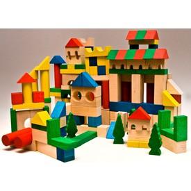 EkoToys Dřevěné kostky barevné 180 ks