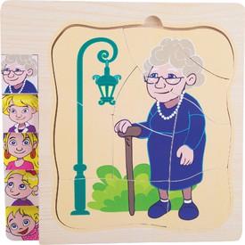 Small Foot Dřevěné puzzle život babičky