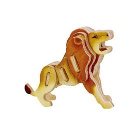 RoboTime Dřevěné sřední 3D puzzle lev