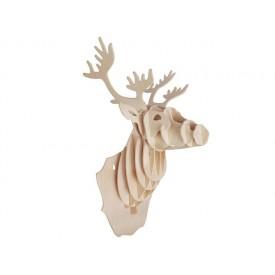 Dřevěné skládačky 3D puzzle - Hlava jelena