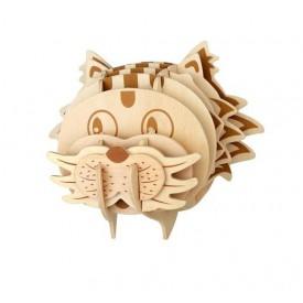 Dřevěné skládačky 3D puzzle - Hlava kočky