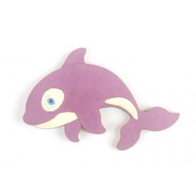 Dřevěné dekorace - dřevěná magnetka - Delfín fialový
