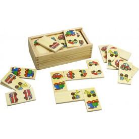 Bigjigs - dřevěné domino - Dopravní prostředky