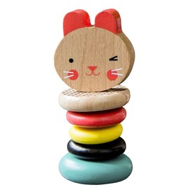 Petitcollage Chrastítko zajíček z barevného i přírodního dřeva