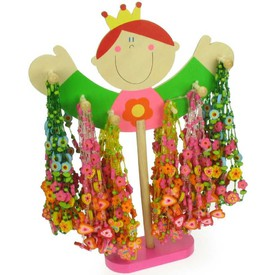 Bigjigs Toys displej Dřevěné náhrdelníky 48ks