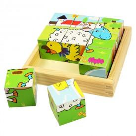 Dřevěné obrázkové kostky kubusy - Zvířátka - 9 kostek