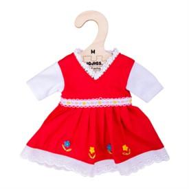 Bigjigs Toys Červené květinové šaty pro panenku 34 cm