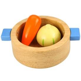 Bigjigs Toys Dřevěný hrnec s potravinami