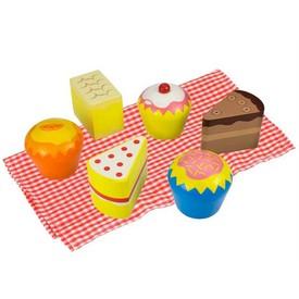 Bigjigs Toys Dřevěné potraviny - 6 dortíků v dřevěné krabičce