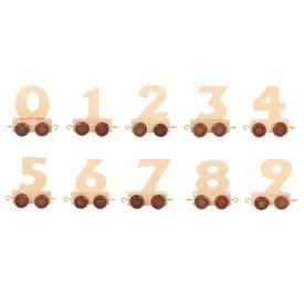 Vagónek dřevěné vláčkodráhy - přírodní číslice - 1 ks