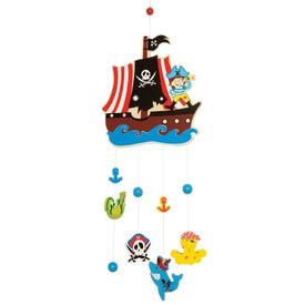 Bigjigs Toys Dřevěný závěsný kolotoč Piráti