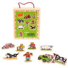 Bigjigs Toys Dřevěné magnetky farma 20ks