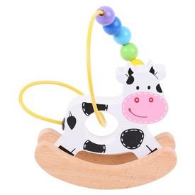 Bigjigs Baby Motorický labyrint houpačka kravička