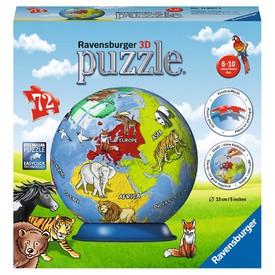 Ravensburger 3D puzzle Puzzleball Dětský globus se zvířaty (anglický)72 dílků