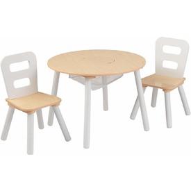 KidKraft Dřevěný set stůl a 2 židle - přírodní a bílá