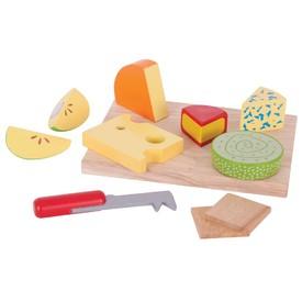Bigjigs Toys Set dřevěných potravin sýry na desce