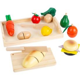 Small FootDřevěné krájecí potraviny snídaně