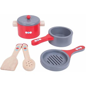 Bigjigs Toys Dřevěný set nádobí s puntíky