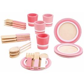 Bigjigs Toys Dřevěný snídaňový servis růžový