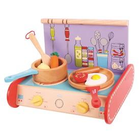 Bigjigs Toys Dřevěný sporák s vybavením