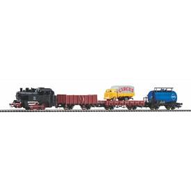 Piko Základní sada Nákladní plošinový vlak s parní lokomotivou - 57113
