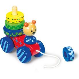 Small Foot Tahací hračka + nasazování medvěd