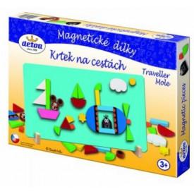 Dřevěné hračky - Magnetické dílky Krtek na cestách